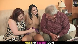Young brunette gets her pussy licked and fucked by his very old parents