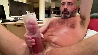 Mature man pumping his big cock