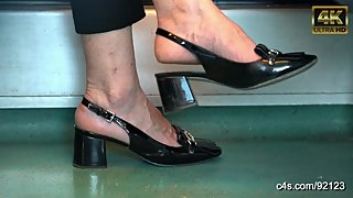 sexy mature feet in heels shoeplay close-up