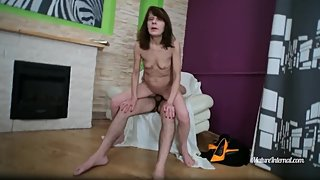 Skinny mature loves riding young cock and getting creampied