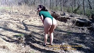 Milf hiking in a thong bodysuit on public trails.