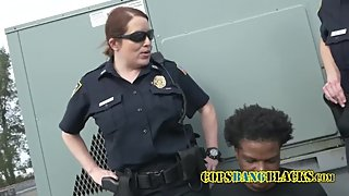 MILF white cop fucked by black suspect on a roof