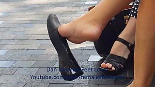 Crocs flat dangle - candid mature feet