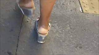 Ebony Mature Milf Cream Soles In Thick Silver Wedge Sandals